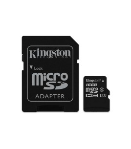 Kingston microSDHC Class 10 UHS-I Card, 16GB w/ SD Adapter (SDC10G2/16GB)