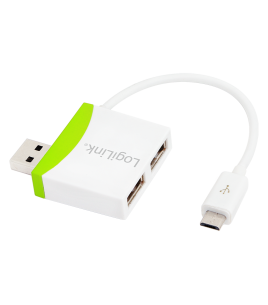 LogiLink UA0180, 2-Port USB2.0 Hub with Micro USB Cable