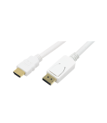 LogiLink Cable DisplayPort to HDMI, 2 Meter, White (CV0055)