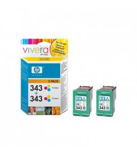 HP 343 2-pack Tri-Colour Print Cartridge with Vivere Ink (CB332EE)