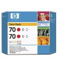 HP 70 2-pack 130 ml Red Ink Cartridge  (CB347A)