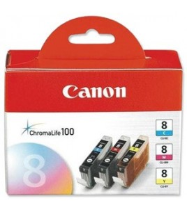 Canon Value Pack, CLI-8C, CLI-8M, CLI-8Y, Ink Cartridges (0621B029)